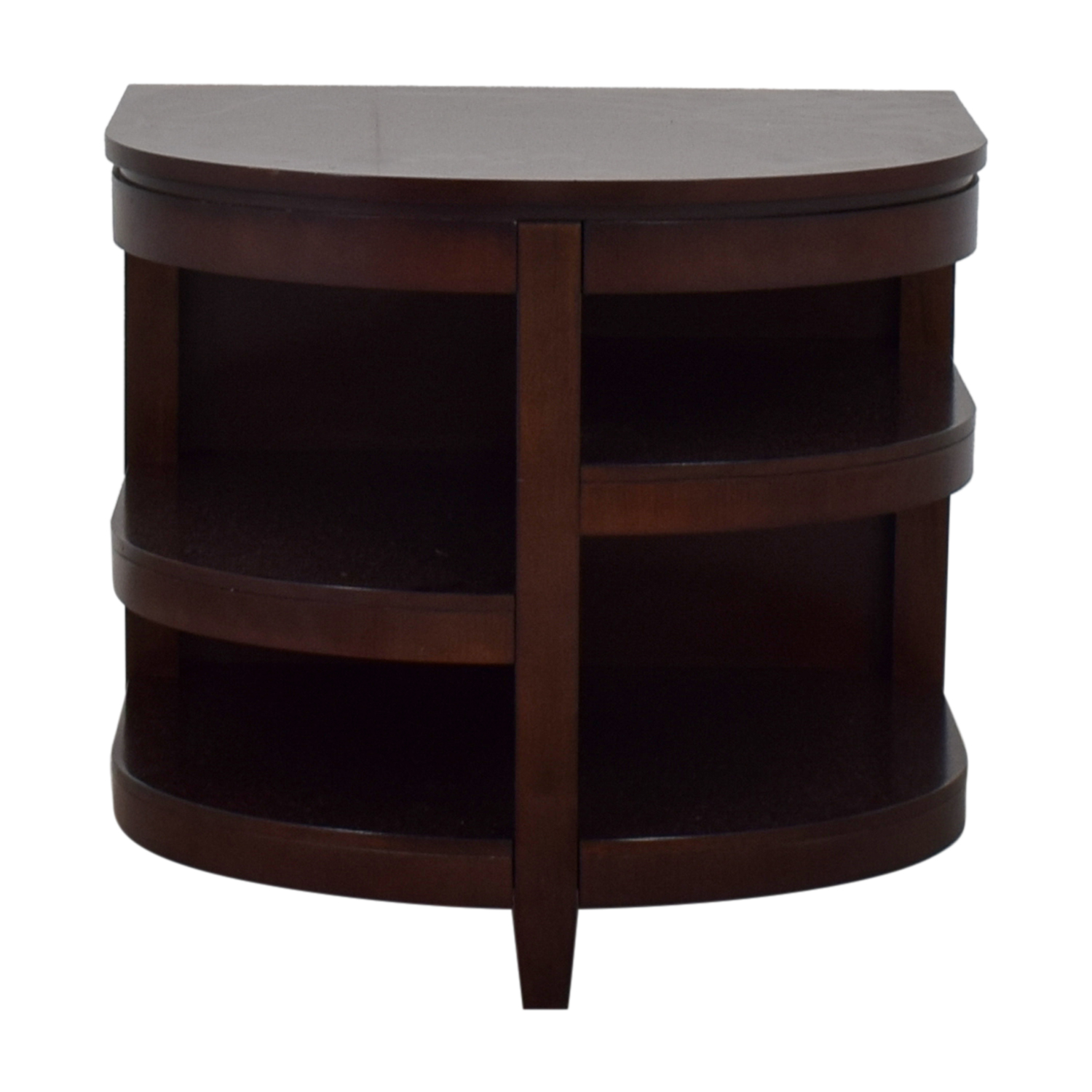 shop Raymour & Flanigan Semi Round Shelved End Table Raymour & Flanigan Tables
