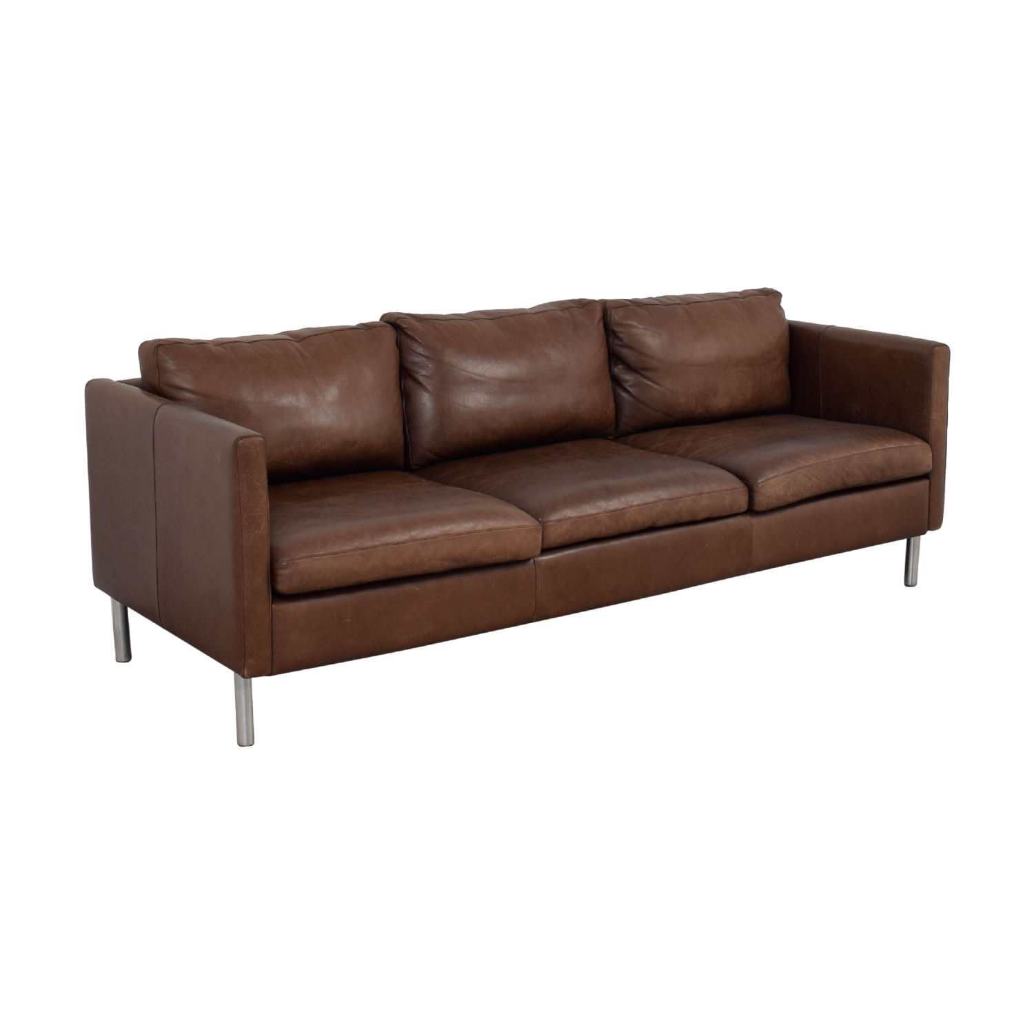 Room & Board Room & Board Jackson Brown Leather Three-Cushion Sofa Classic Sofas