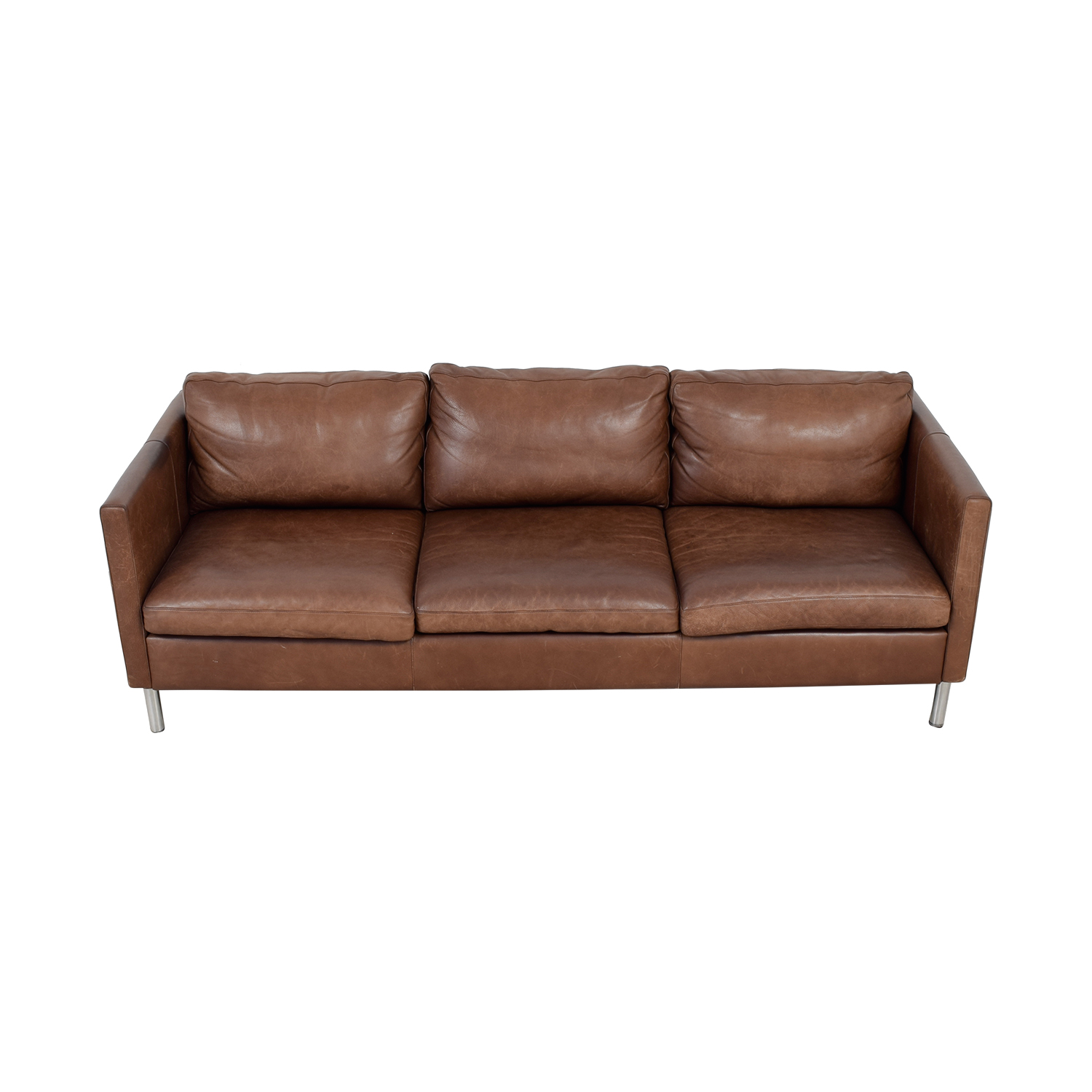 buy Room & Board Jackson Brown Leather Three-Cushion Sofa Room & Board