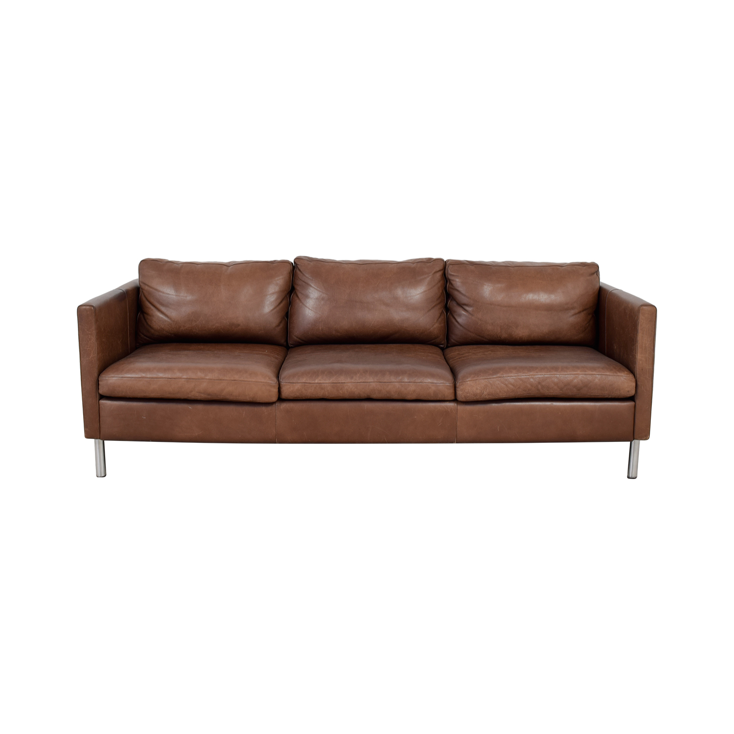 Room Board Jackson Brown Leather Three Cushion Sofa Second
