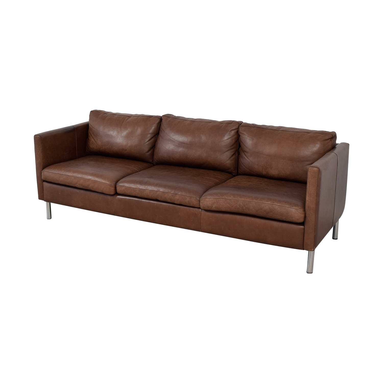 shop Room & Board Jackson Brown Leather Three-Cushion Sofa Room & Board Sofas