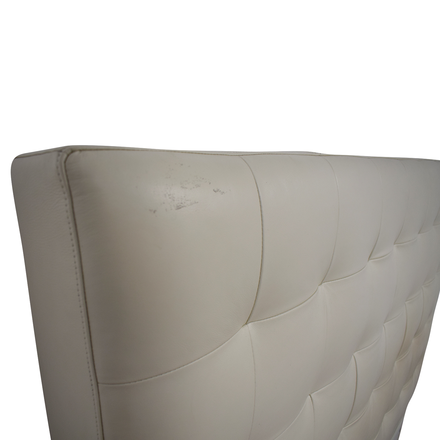 West Elm West Elm White Leather Tufted Queen Headboard second hand
