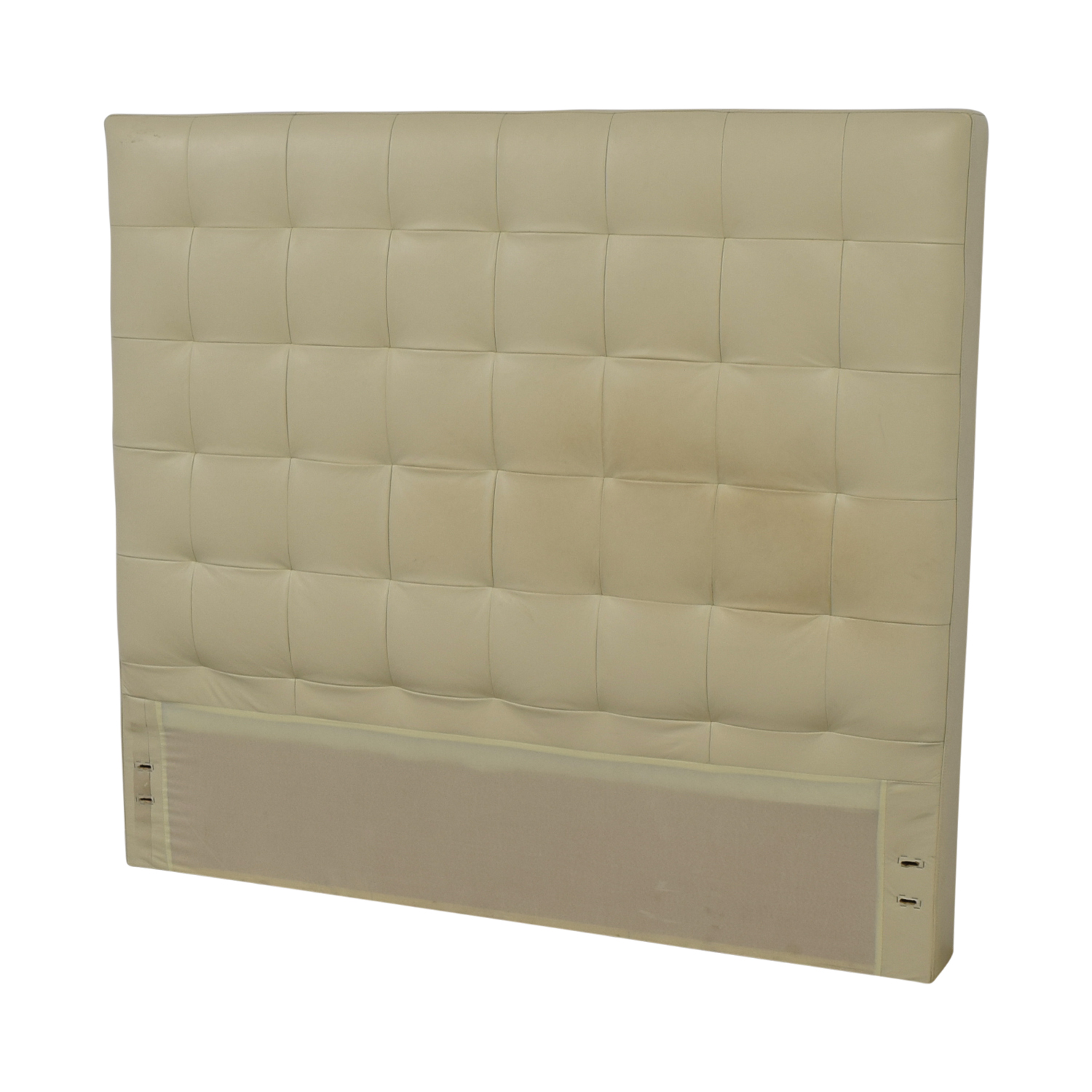 West Elm West Elm White Leather Tufted Queen Headboard discount