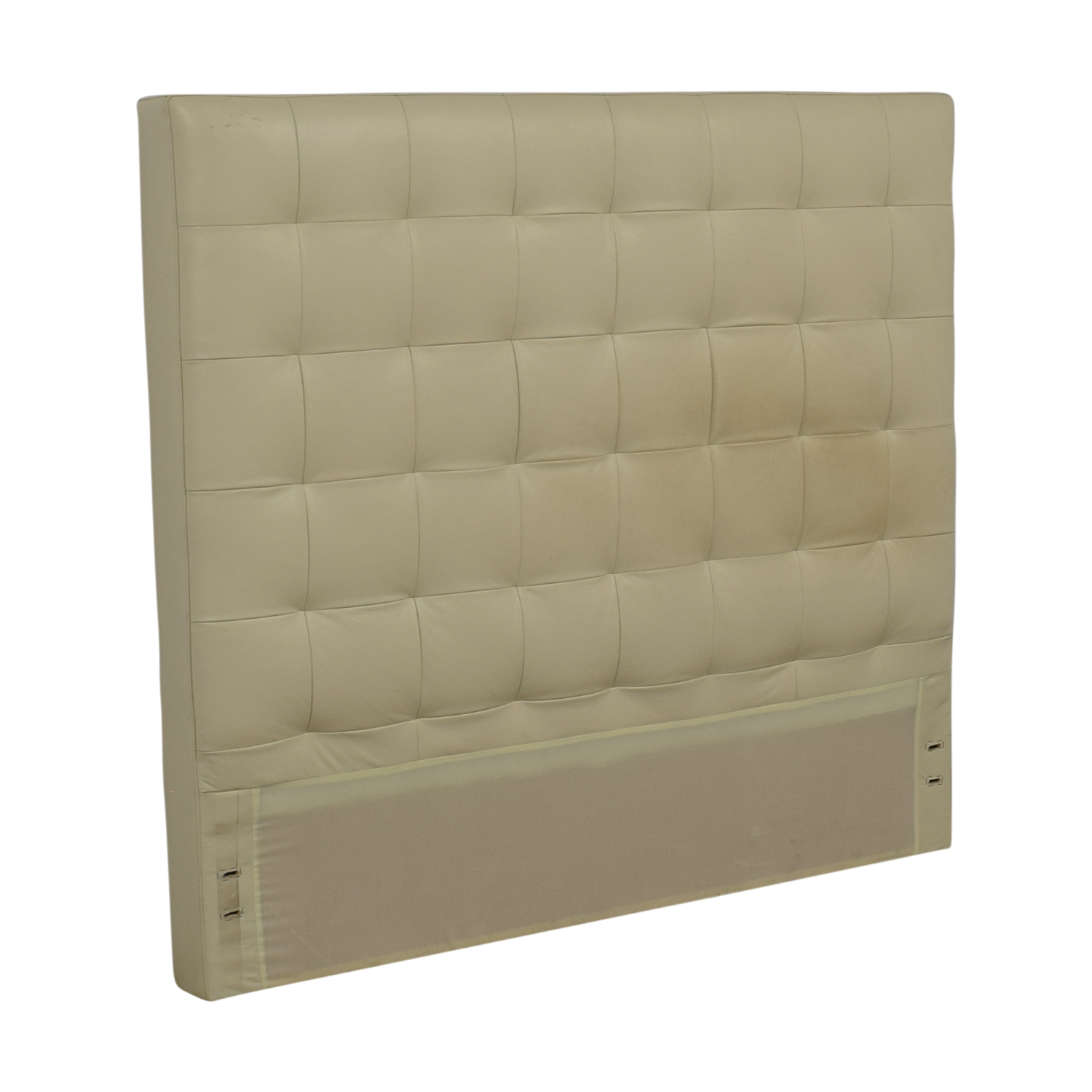 West Elm West Elm White Leather Tufted Queen Headboard Beds