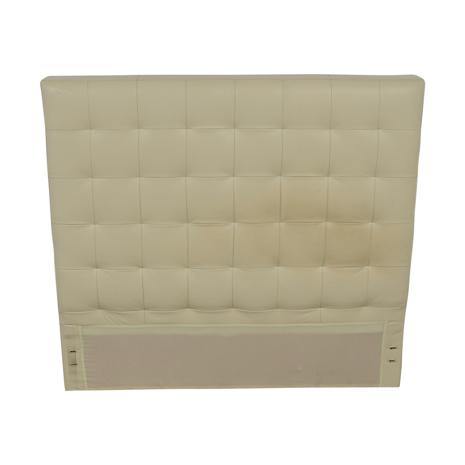 West Elm West Elm White Leather Tufted Queen Headboard for sale