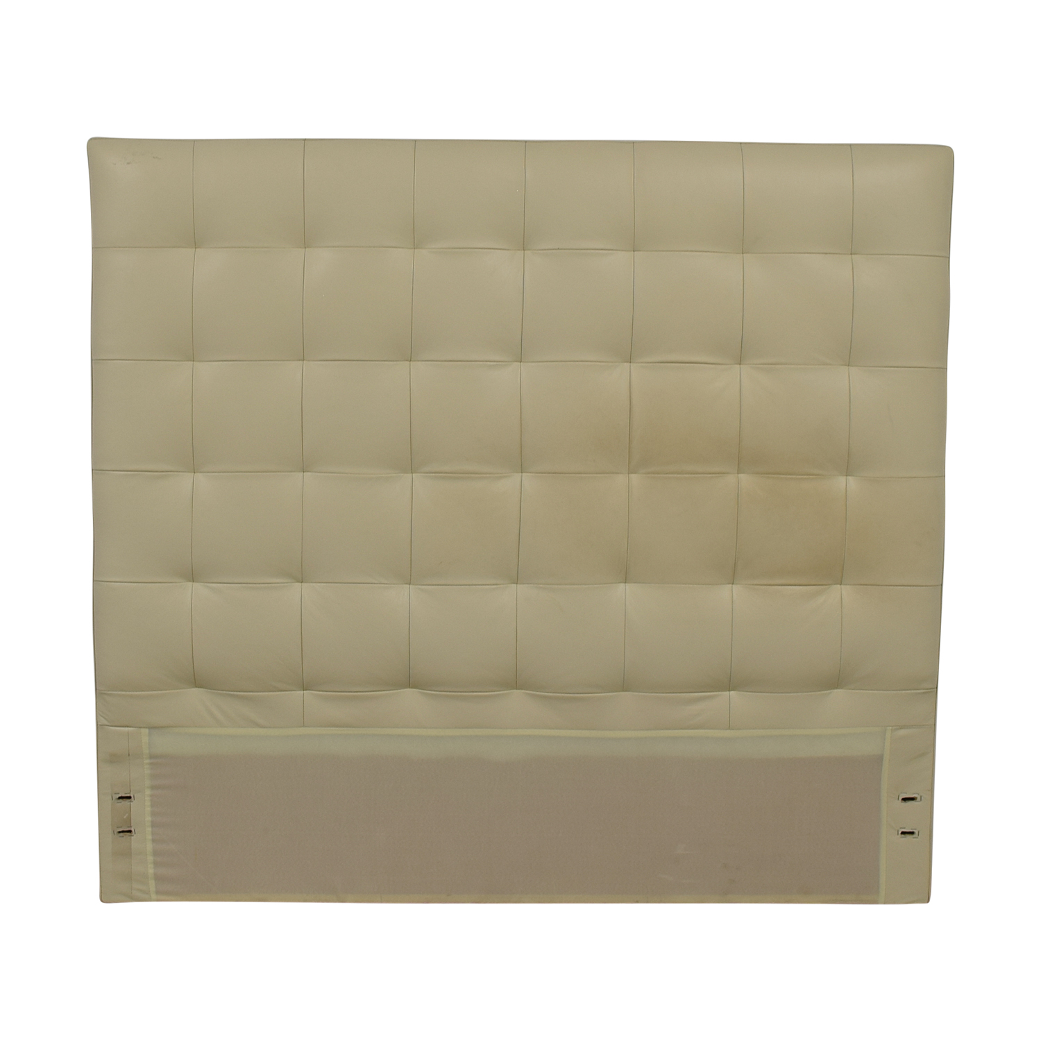 West Elm White Leather Tufted Queen Headboard sale