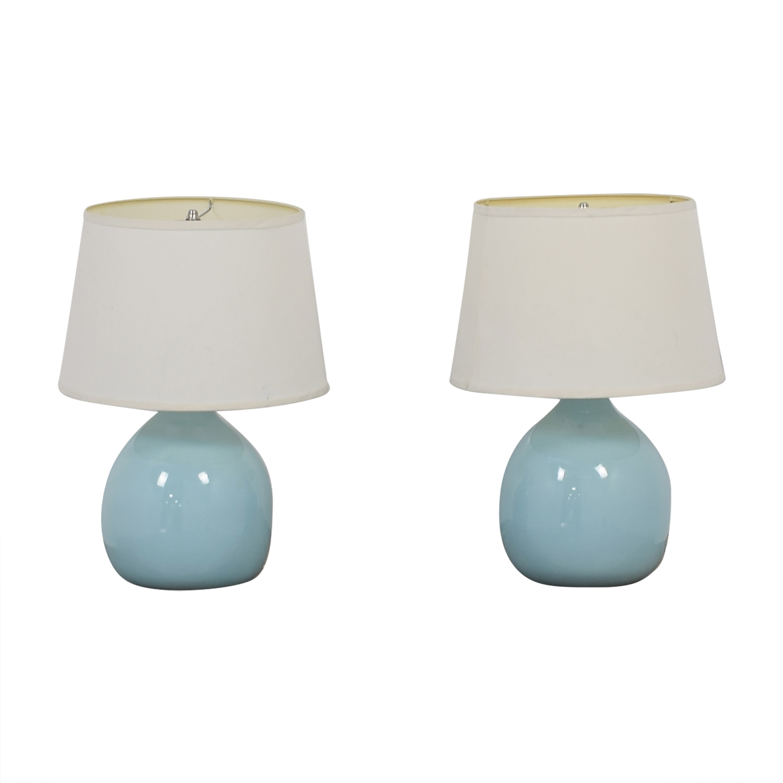 Crate & Barrel Crate & Barrel Light Blue Ceramic Table Lamps used