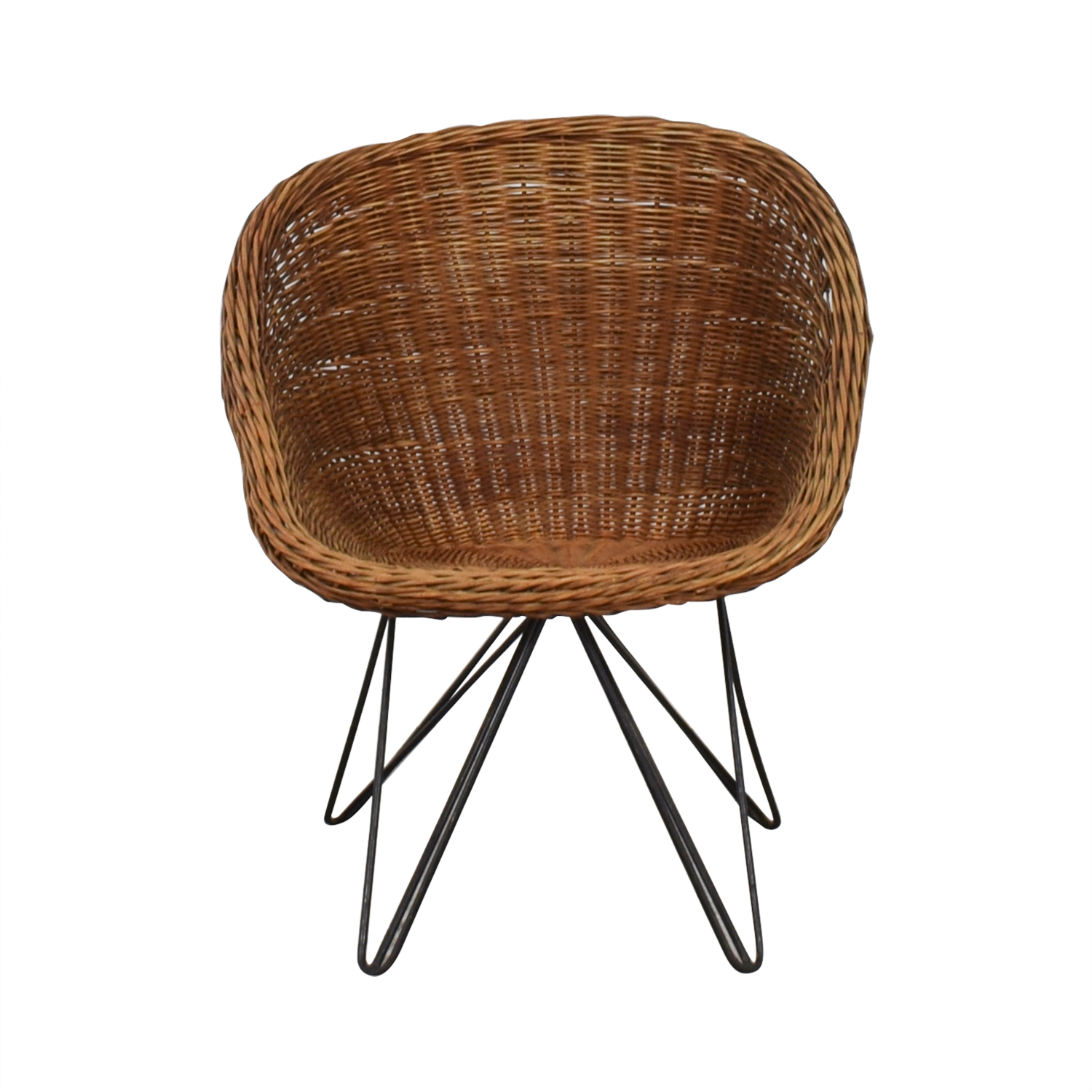 Wicker Chair with Metal Legs nyc