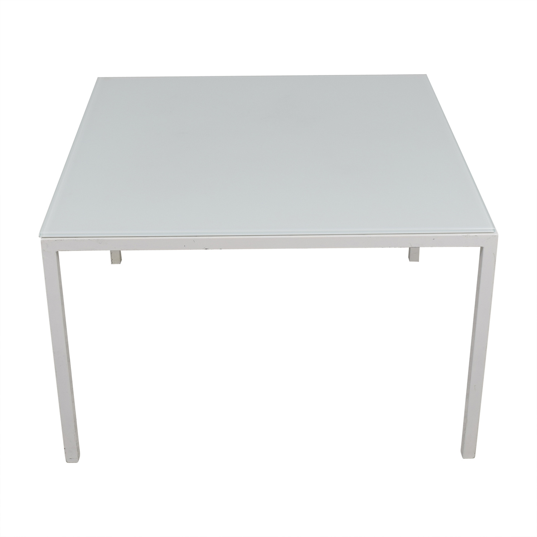 Room & Board Custom Pratt White Glass Table sale