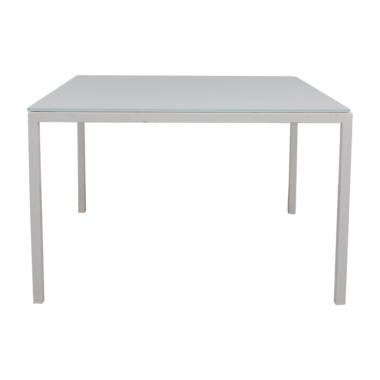 buy Room & Board Custom Pratt White Glass Table Room & Board Dinner Tables