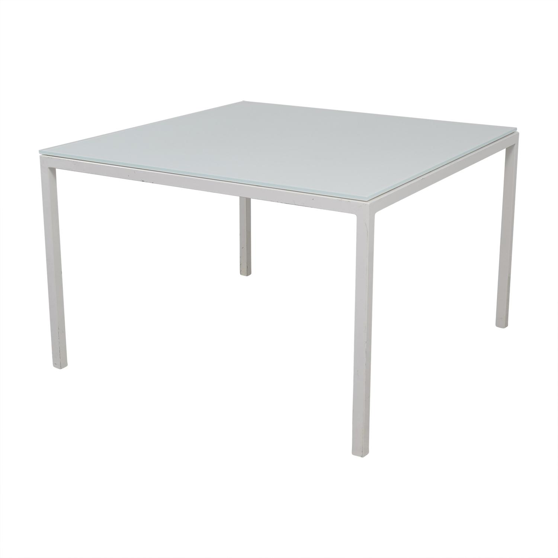 Room & Board Custom Pratt White Glass Table / Dinner Tables