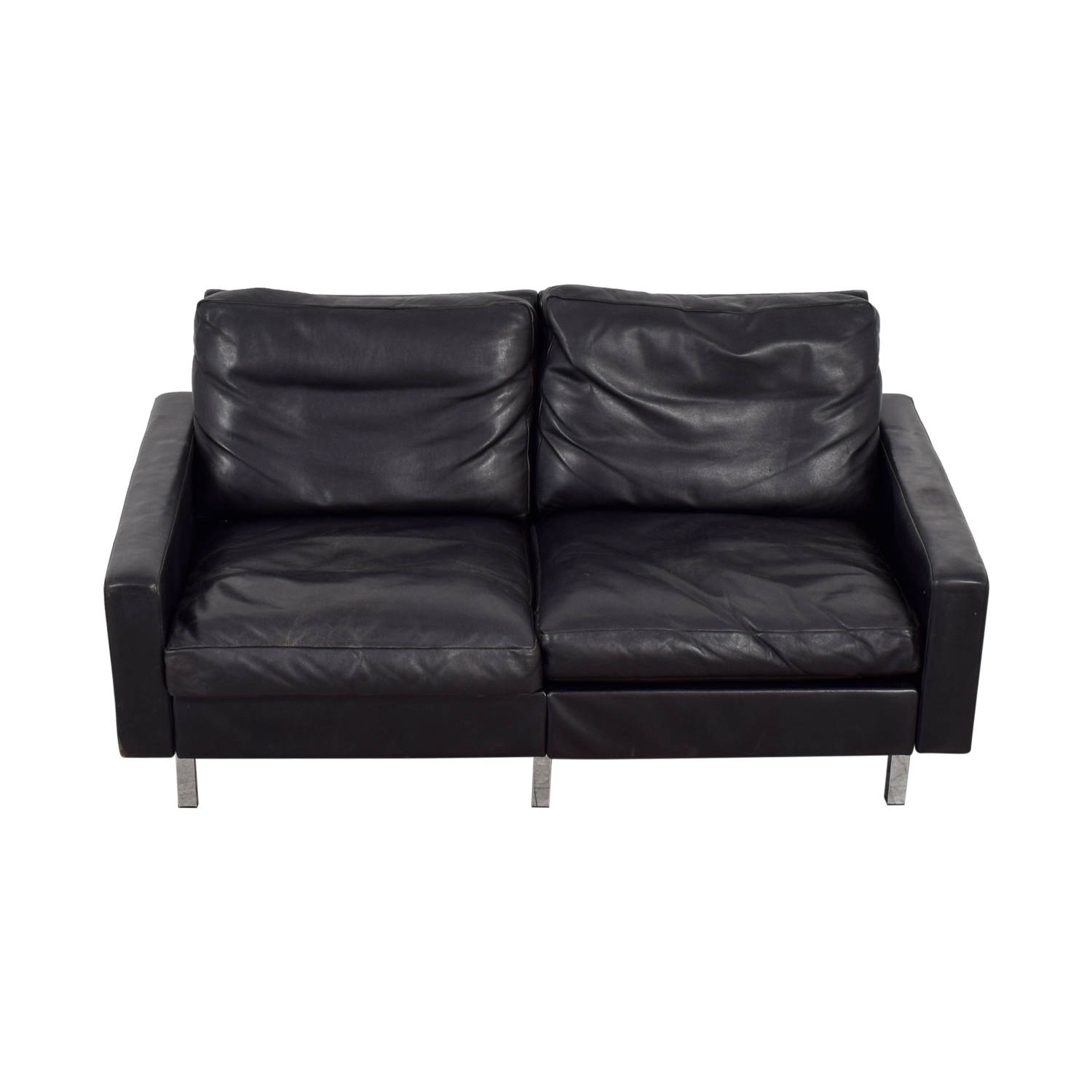 buy Mid-Century Black Leather Two-Cushion  Loveseat  Sofas