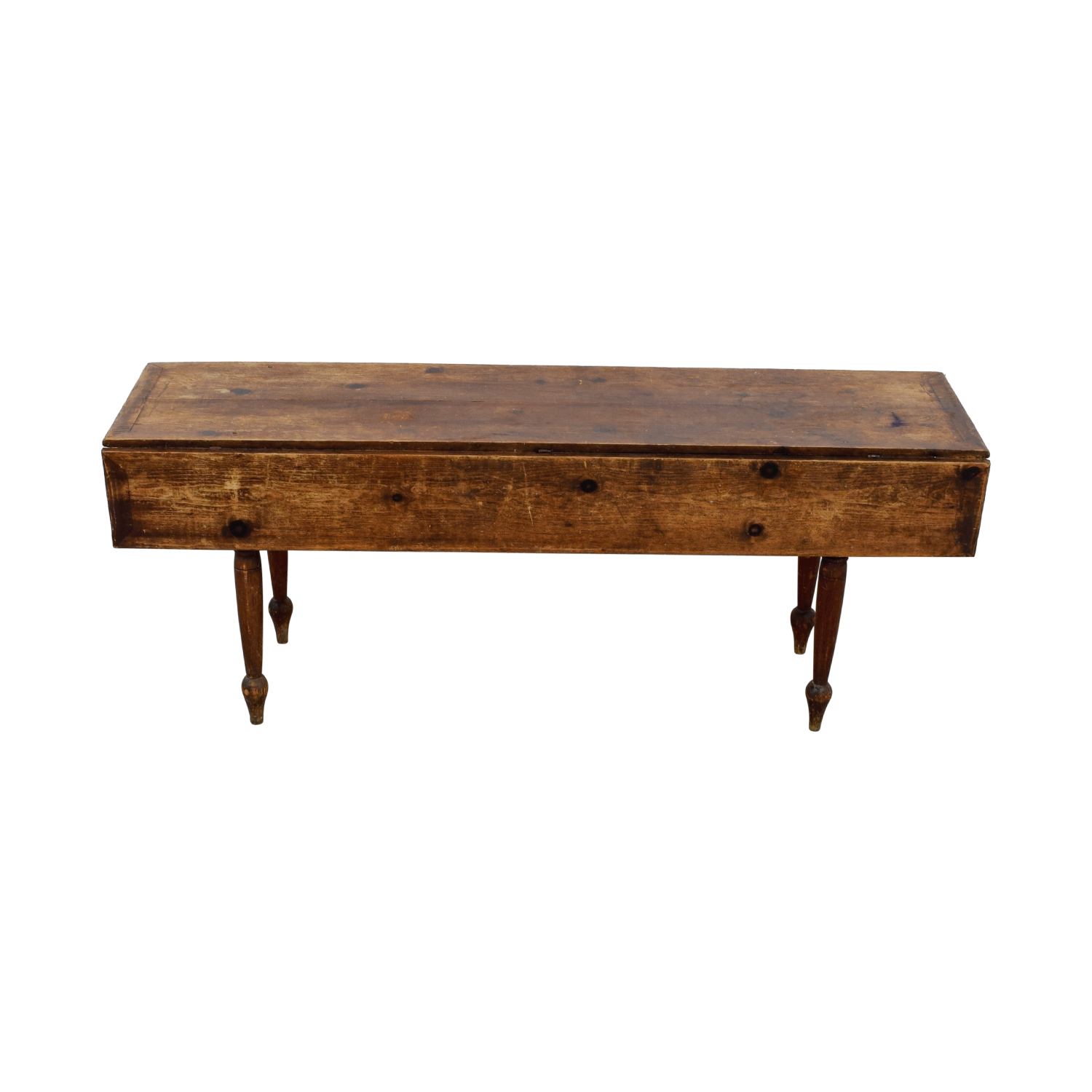 Vintage Rustic Drop-Leaf Wood Table