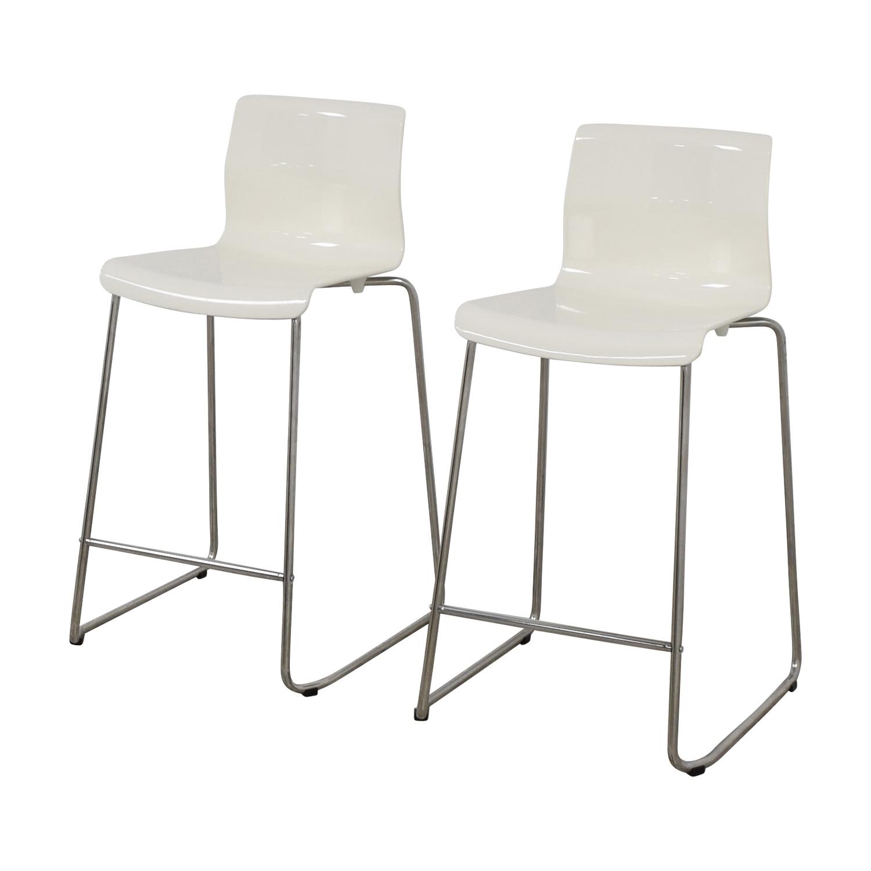 57 Off Ikea Ikea Glenn White Bar Stools Chairs