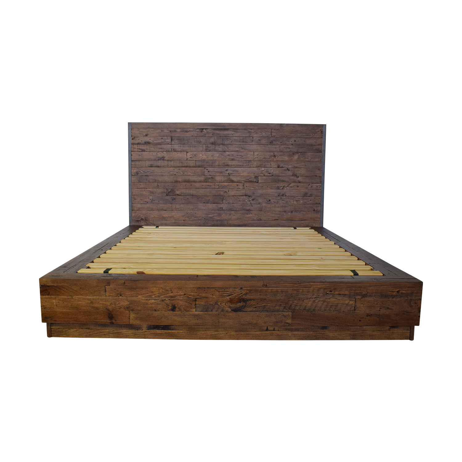 Pottery Barn Big Daddy Rustic Wood Platform Queen Bed Frame sale
