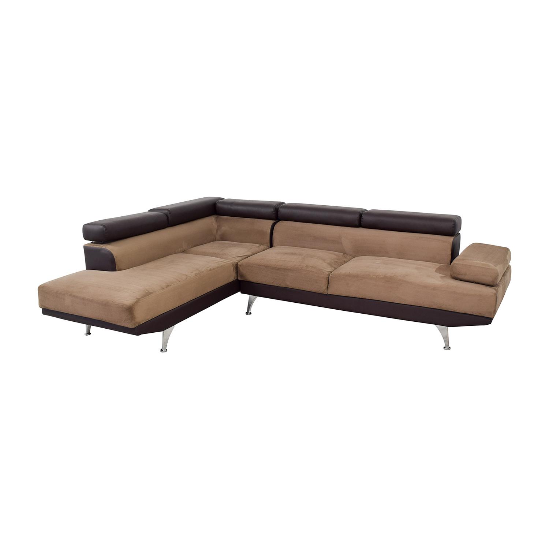 wayfair wayfair berardi brown leather and tan fabric l shaped sectional