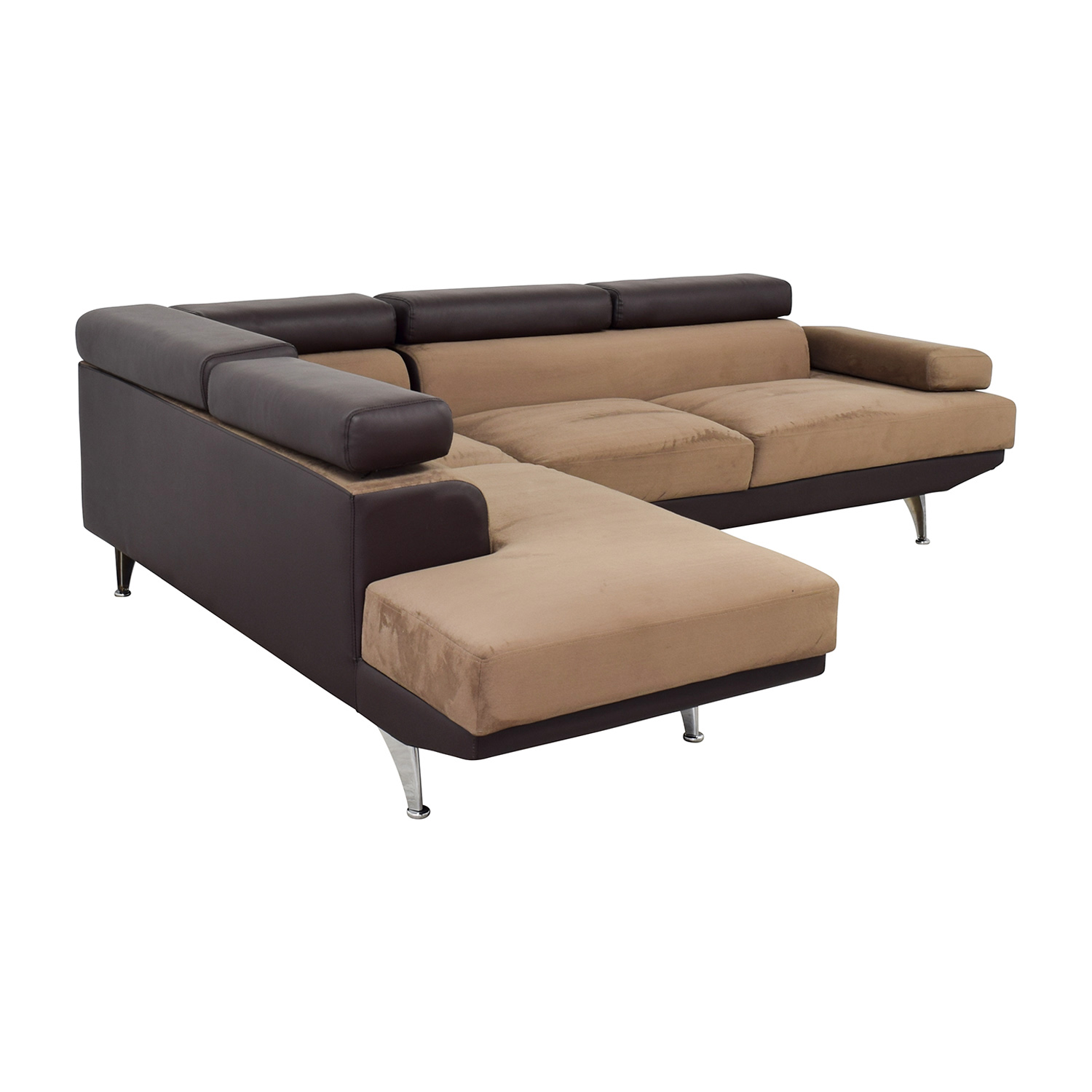 65 off wayfair wayfair berardi brown leather and tan fabric l shaped sectional sofas. Black Bedroom Furniture Sets. Home Design Ideas