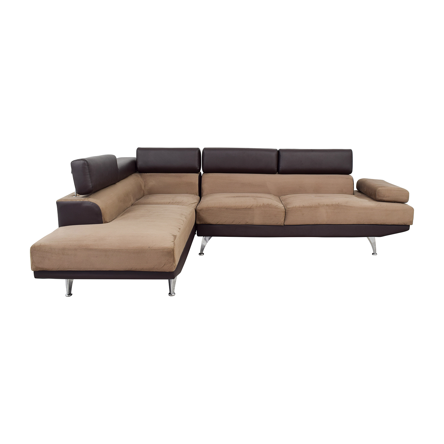 Wayfair Wayfair Berardi Brown Leather and Tan Fabric L-Shaped Sectional