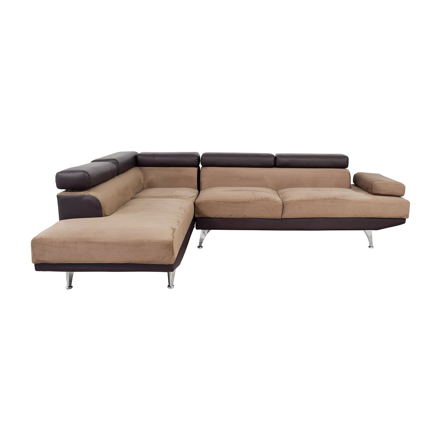 Wayfair Wayfair Berardi Brown Leather and Tan Fabric L-Shaped Sectional discount
