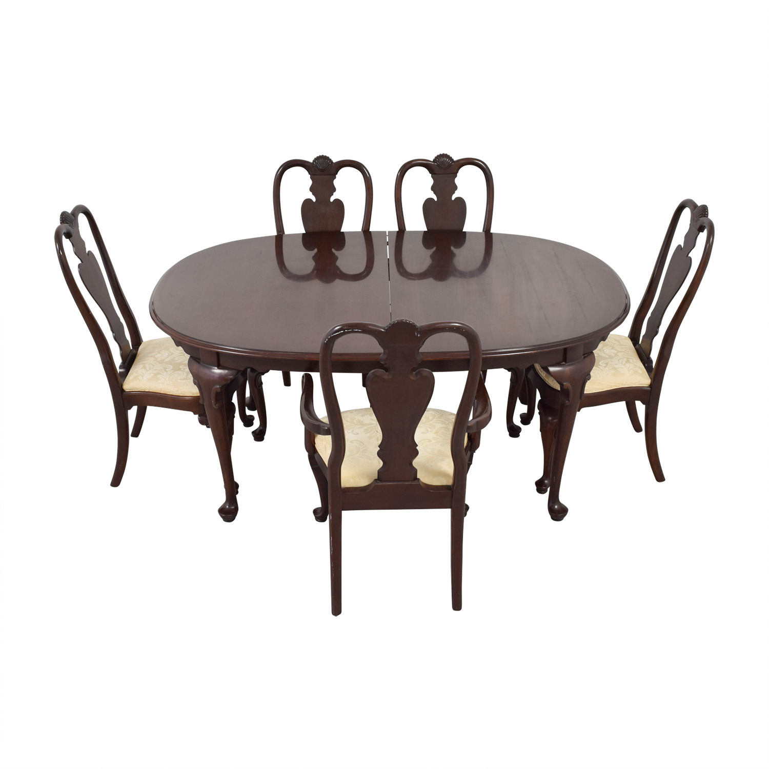 shop Ethan Allen Wood Dining Set with Upholstered Chairs Ethan Allen Tables