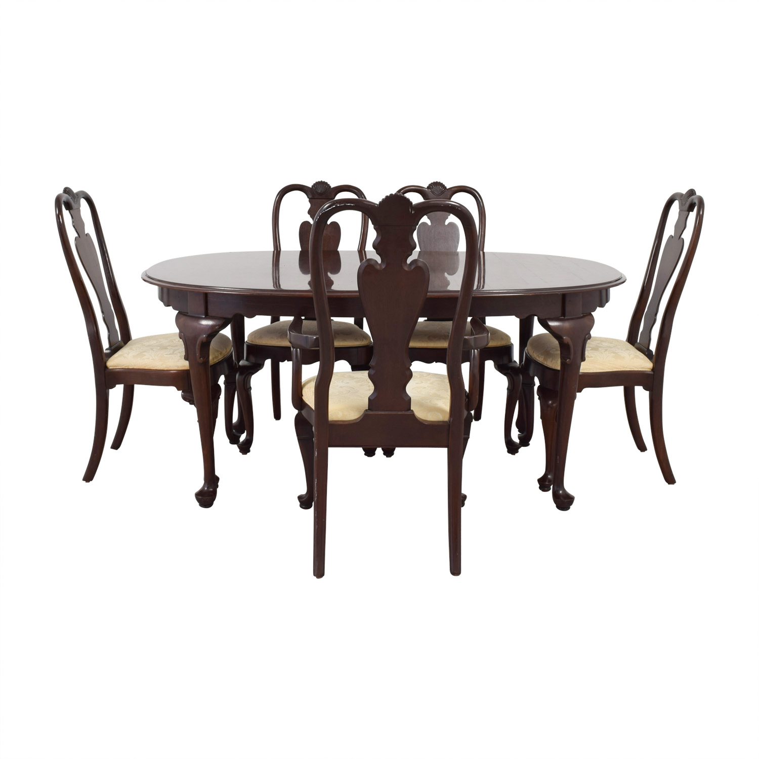 Ethan Allen Ethan Allen Wood Dining Set with Upholstered Chairs