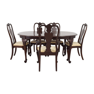 shop Ethan Allen Ethan Allen Wood Dining Set with Upholstered Chairs online