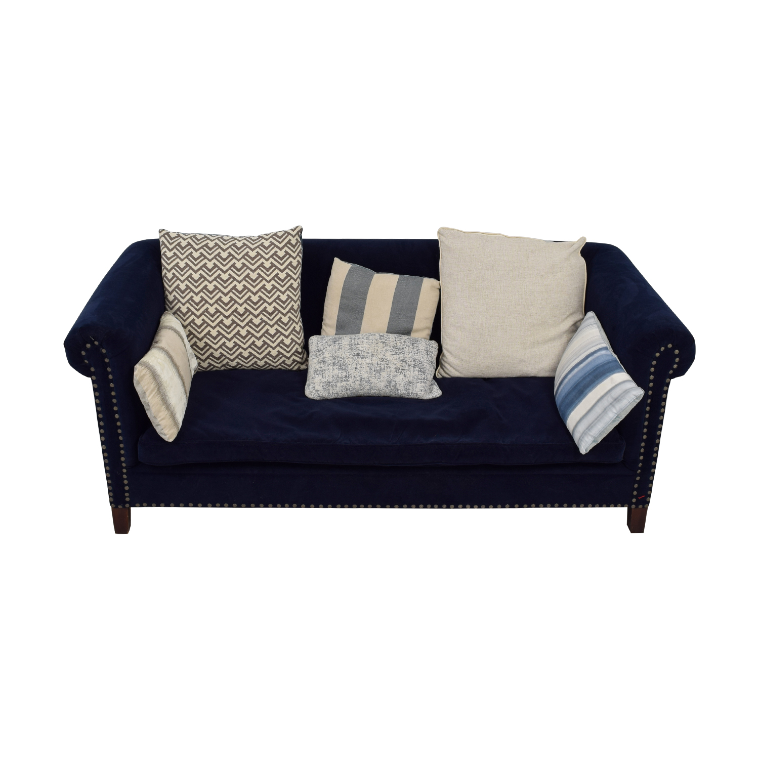 buy Ralph Lauren Blue Low-Pile Velvet Nailhead Sofa Ralph Lauren Sofas