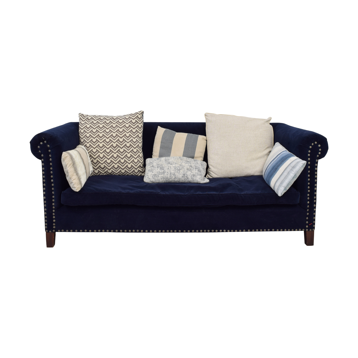 Ralph Lauren Blue Low-Pile Velvet Nailhead Sofa / Sofas
