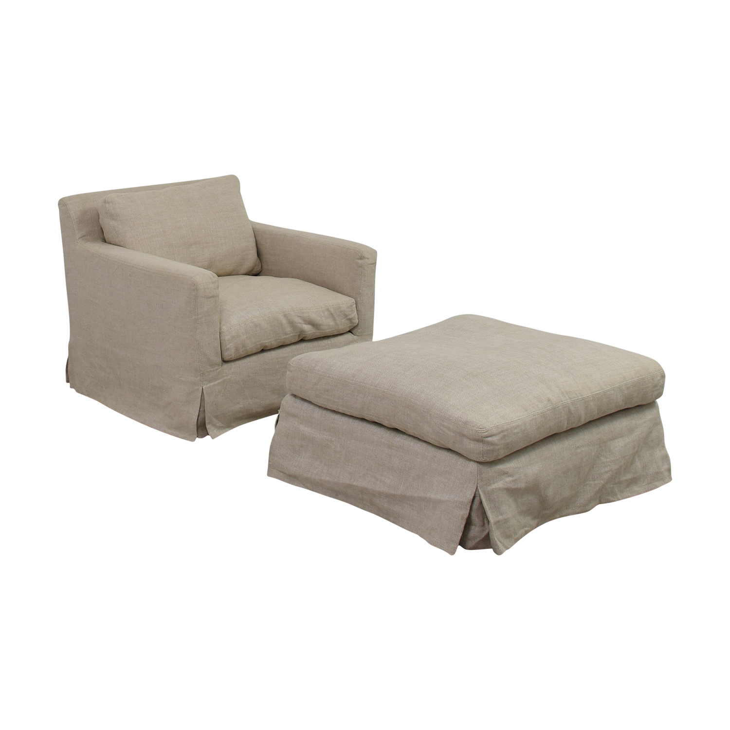 buy Restoration Hardware Beige Slipcovered Belgian Track Arm Chair and Ottoman Restoration Hardware Accent Chairs