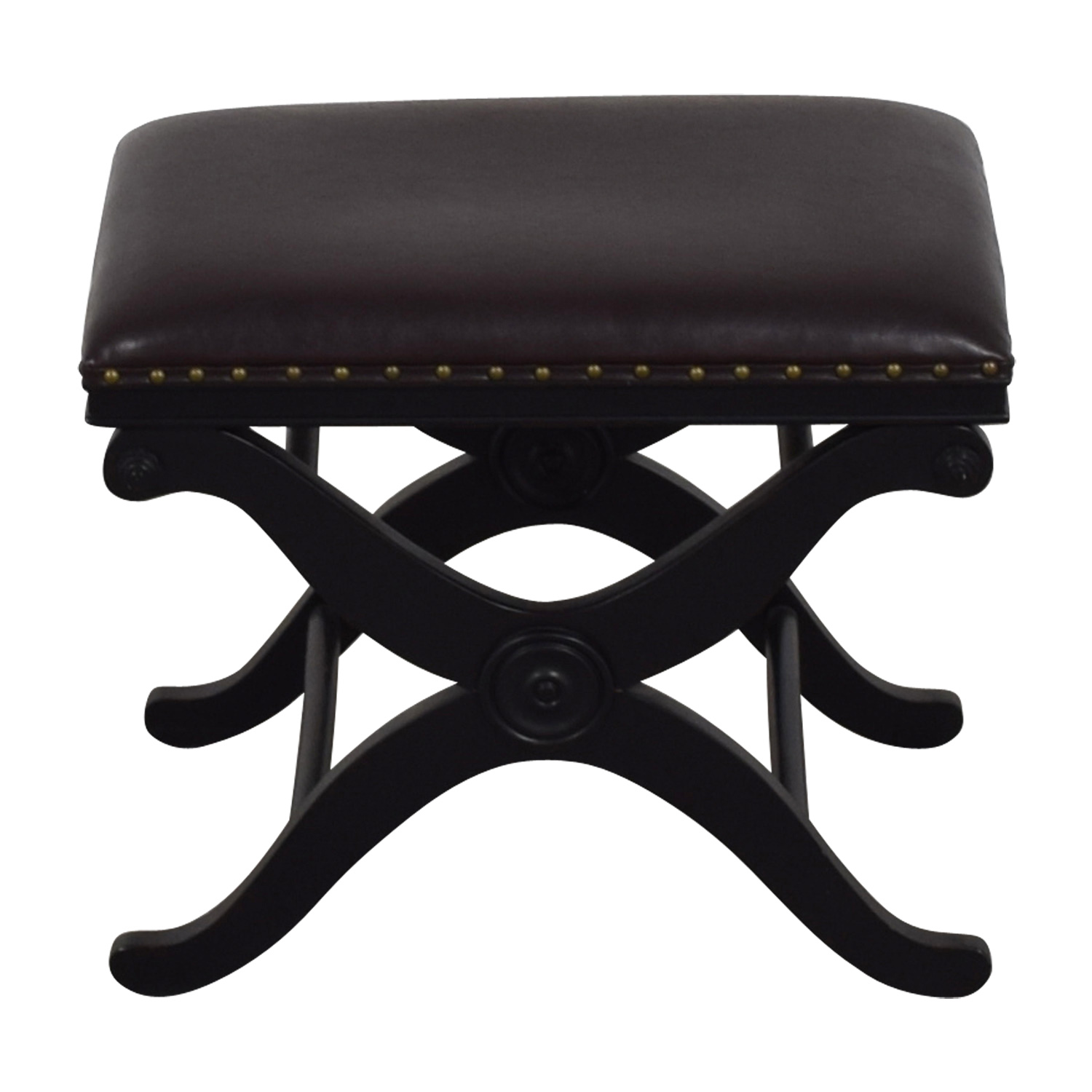 buy Coast to Coast Imports Coast to Coast Brown Leather Nailhead Ottoman online