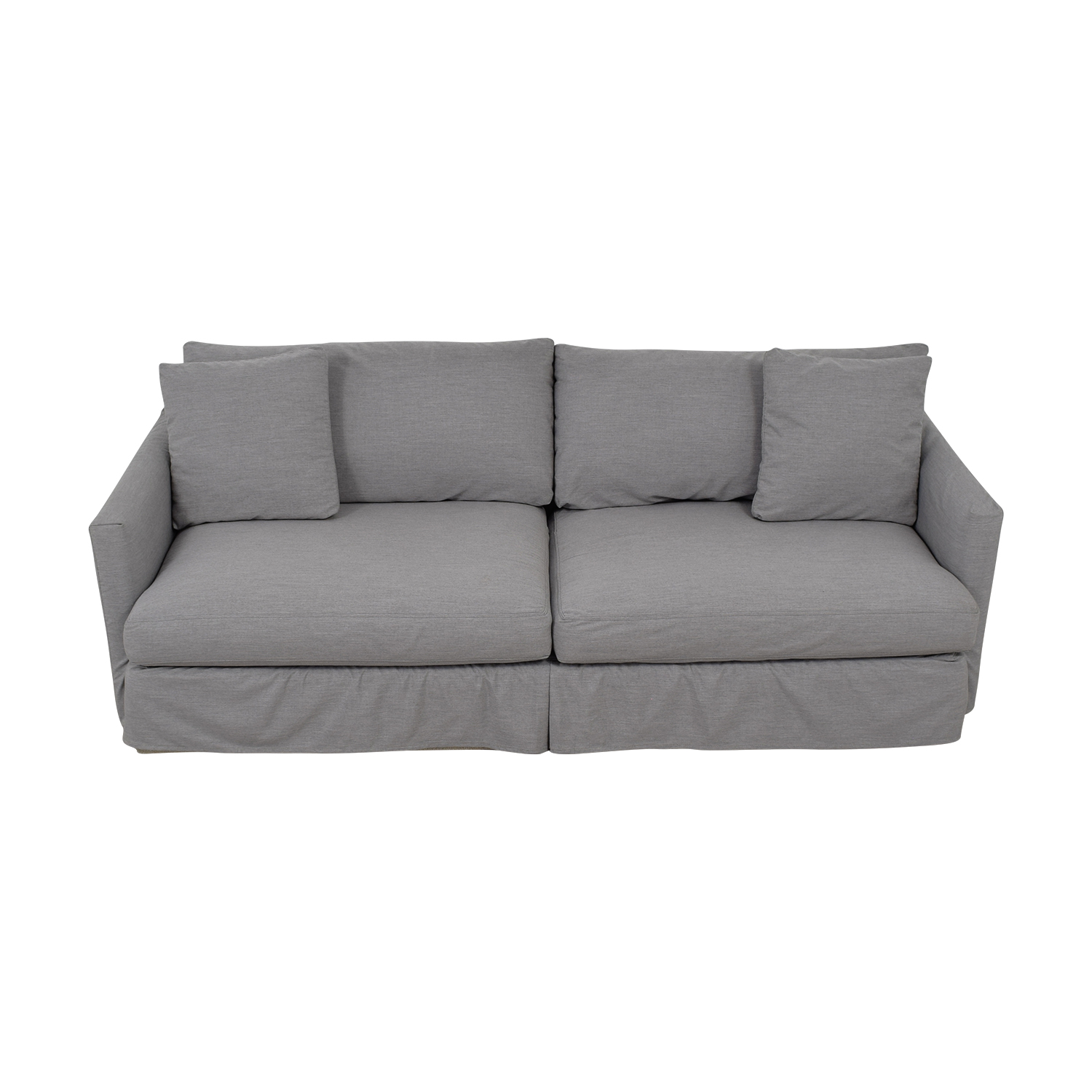 Crate & Barrel Lounge II Petite Grey Slipcovered Couch Crate & Barrel