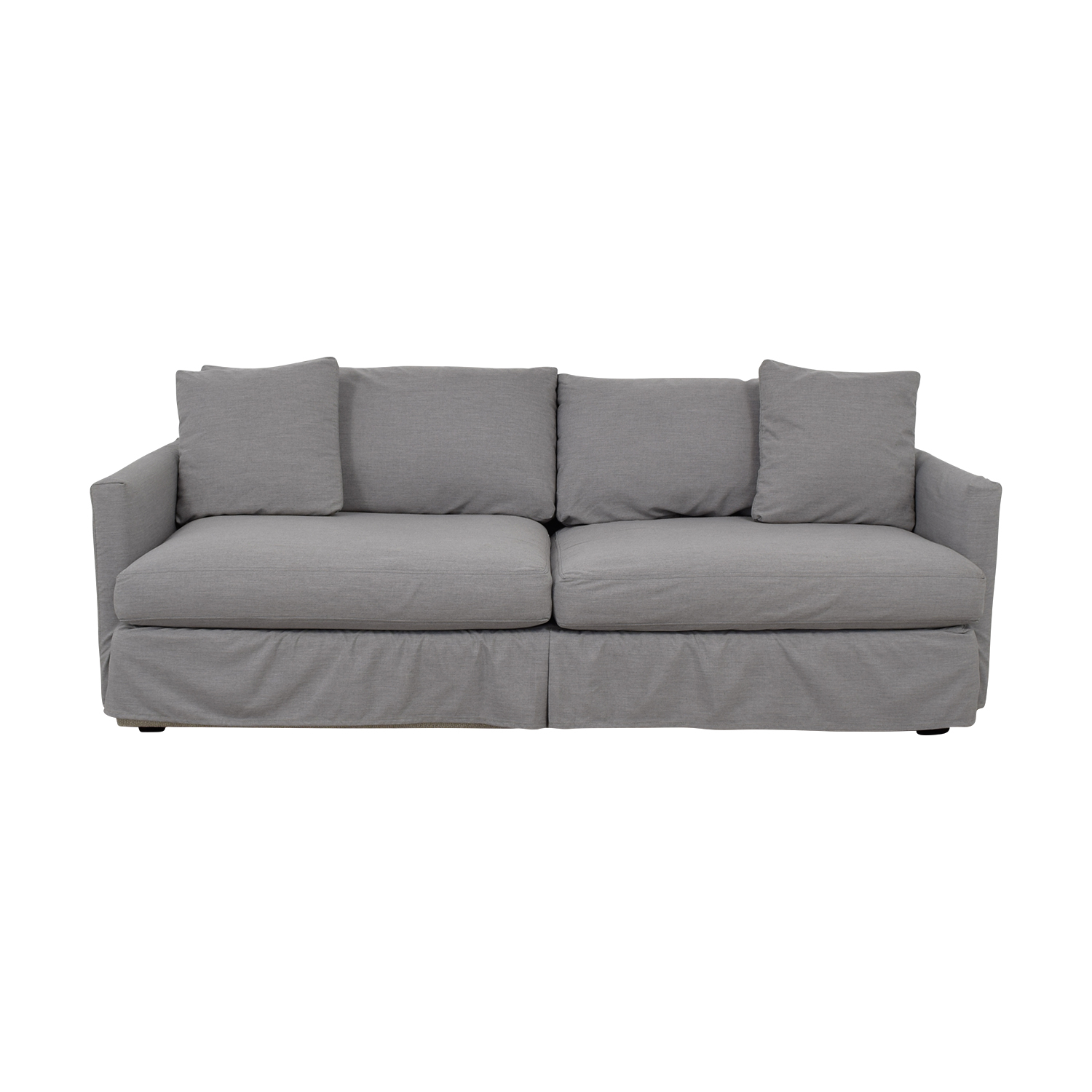 buy Crate & Barrel Lounge II Petite Grey Slipcovered Couch Crate & Barrel Classic Sofas