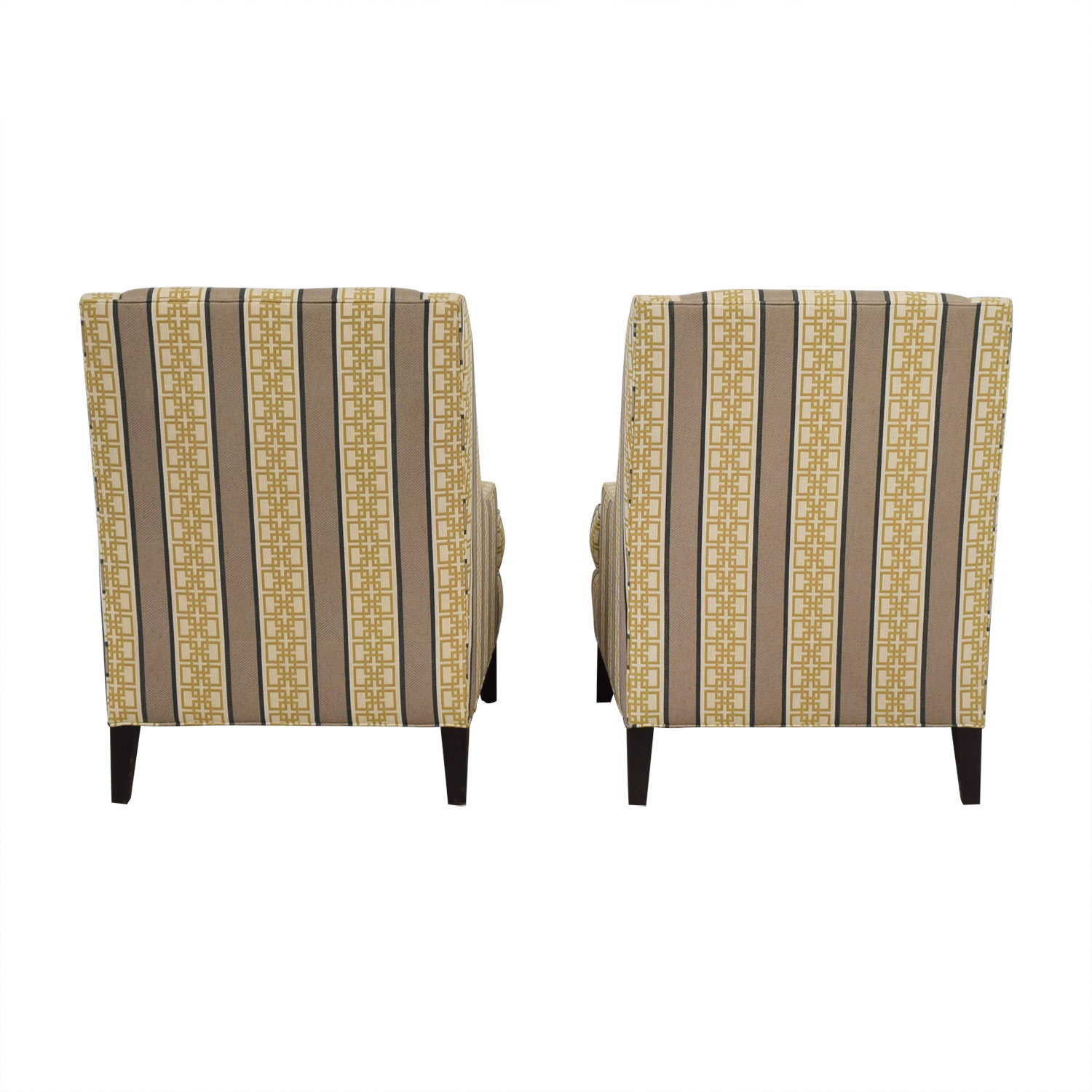 Ethan Allen Emerson Multi-Colored Geometric Pattern Accent Chairs Ethan Allen