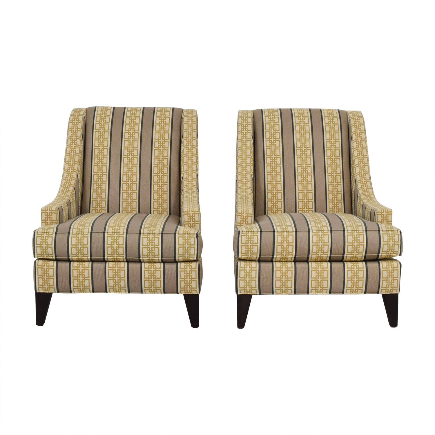 Ethan Allen Emerson Multi Colored Geometric Pattern Accent Chairs Sale ...