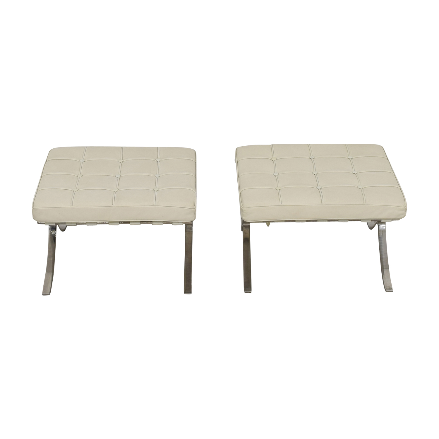 shop Barcelona Style White Tufted Leather Ottomans