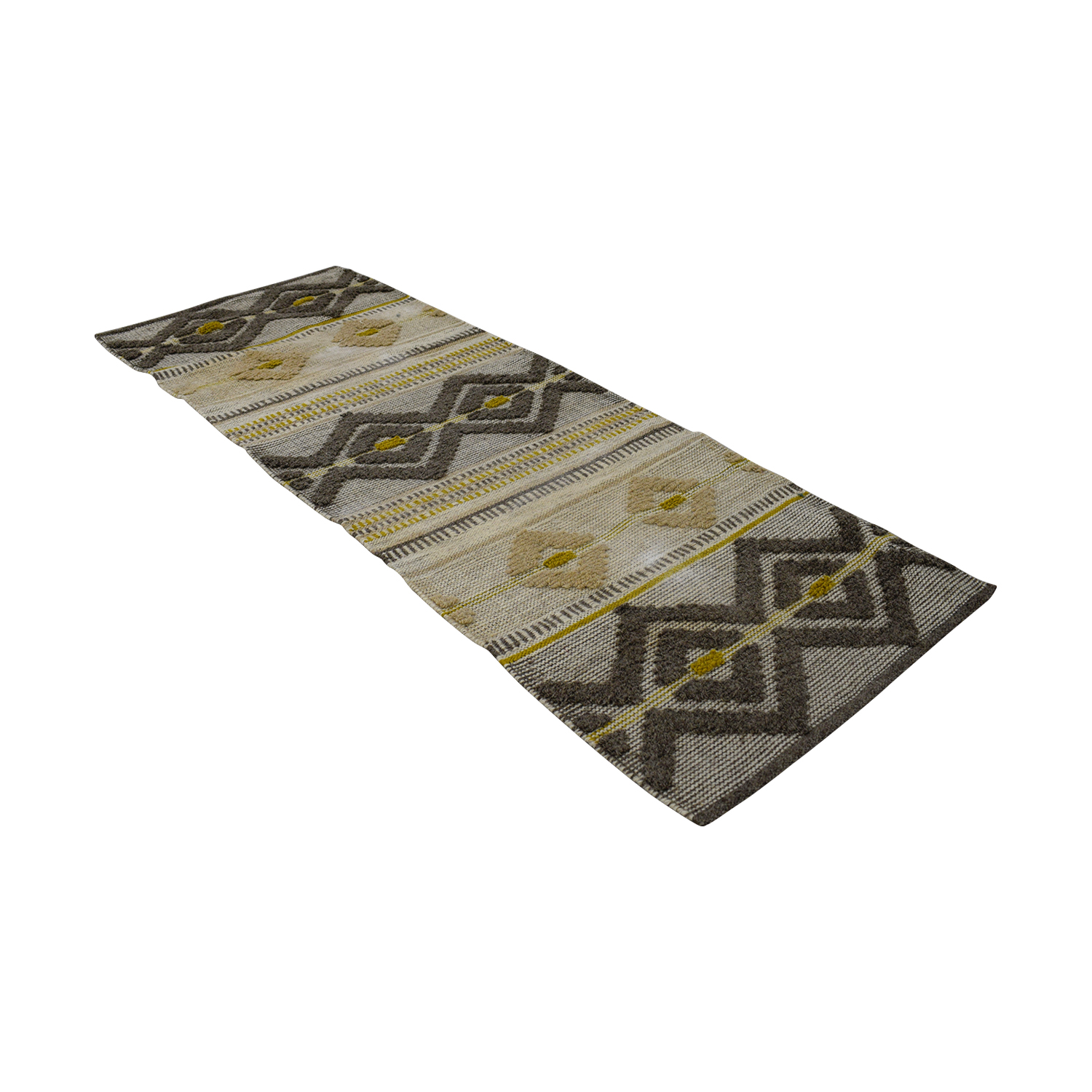 shop West Elm Intarsia Beige Grey and Yellow Runner Rug West Elm Sofas