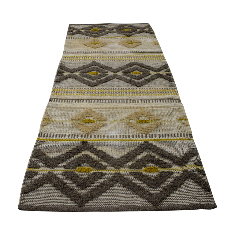 West Elm West Elm Intarsia Beige Grey and Yellow Runner Rug second hand