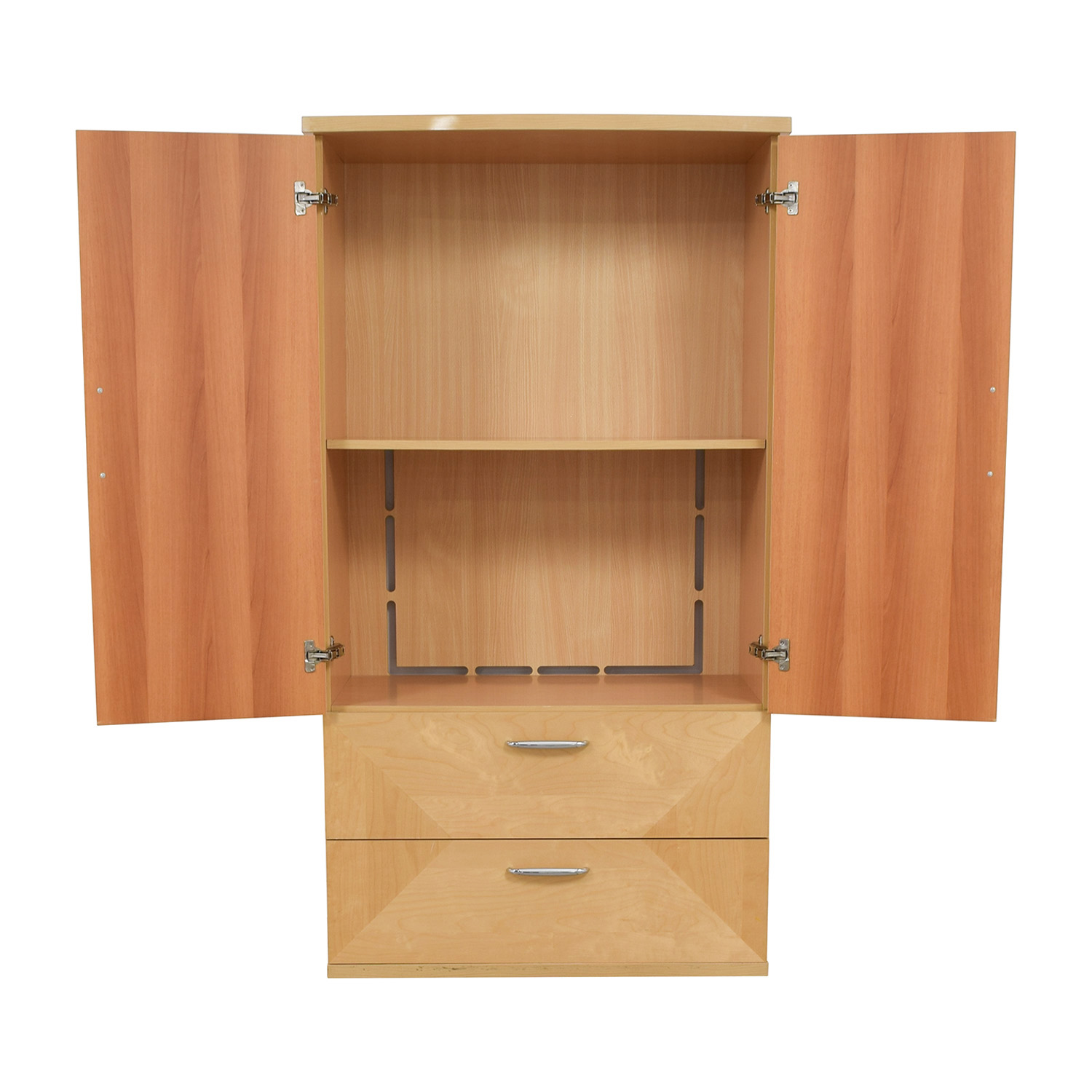 Natural Wood Two-Drawer Media Armoire Wardrobes & Armoires
