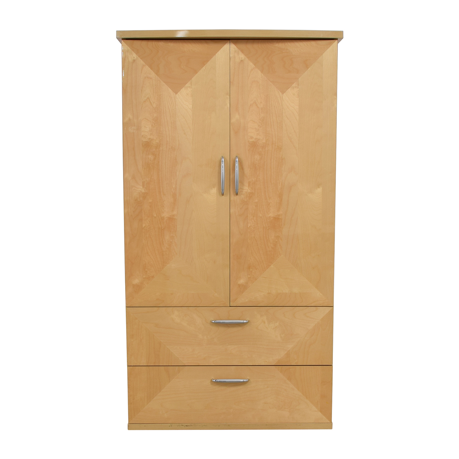 Natural Wood Two-Drawer Media Armoire nj