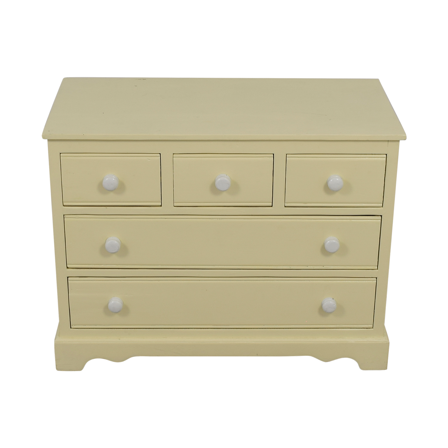 Antique Refurbished Cream Five-Drawer Dresser for sale