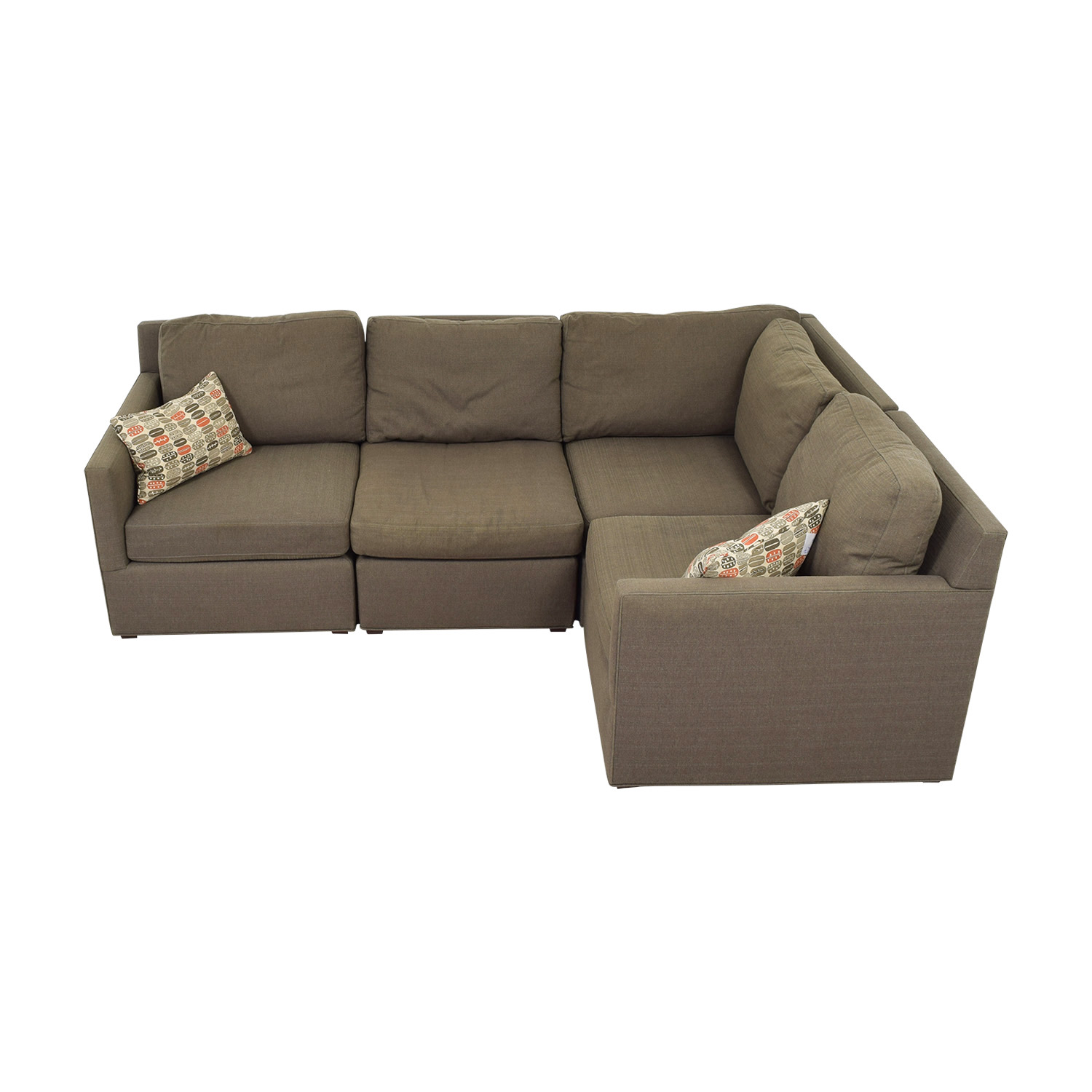 Crate & Barrel Grey L-Shaped Sectional Crate & Barrel