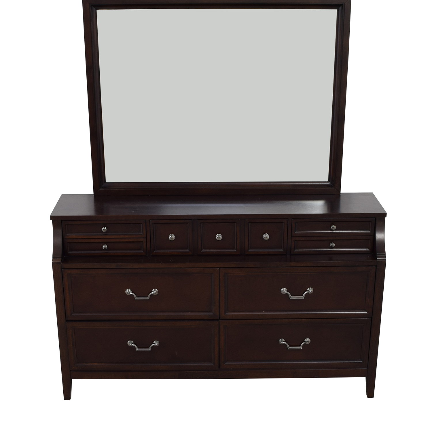 Raymour & Flanigan Raymour & Flanigan Seven-Drawers Wood Dresser with Mirror