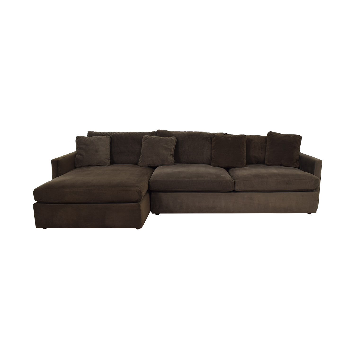 Crate & Barrel Brown Chaise Sectional sale