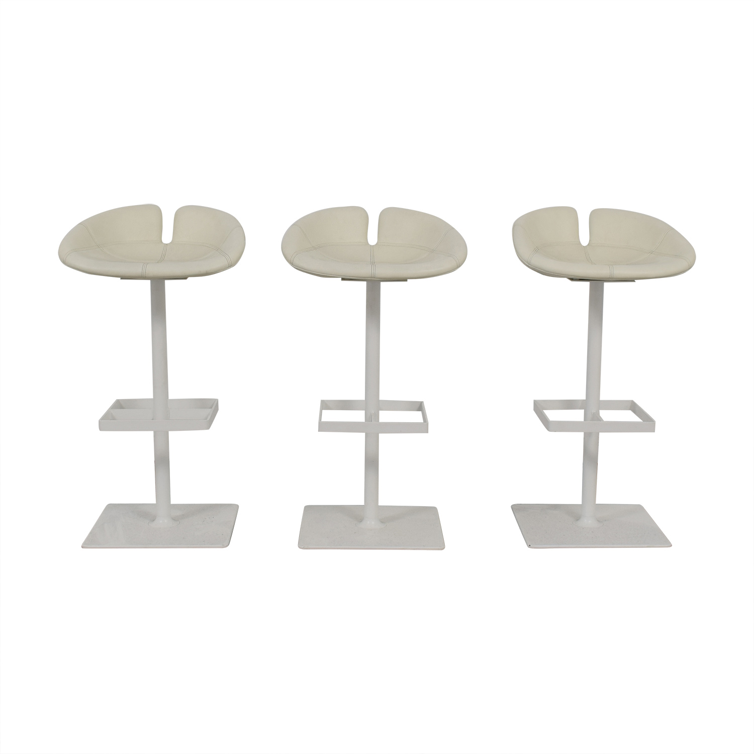 Super 82 Off Moroso Moroso Fjord White Leather Barstools Chairs Alphanode Cool Chair Designs And Ideas Alphanodeonline
