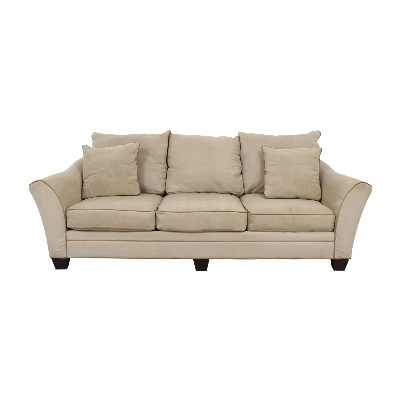 Raymour & Flanagan Raymour & Flanigan Beige Microfiber Three-Cushion Sofa discount