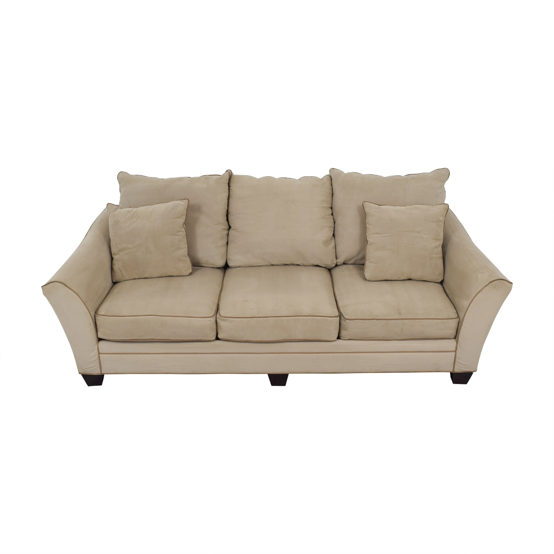Raymour & Flanagan Raymour & Flanigan Beige Microfiber Three-Cushion Sofa on sale