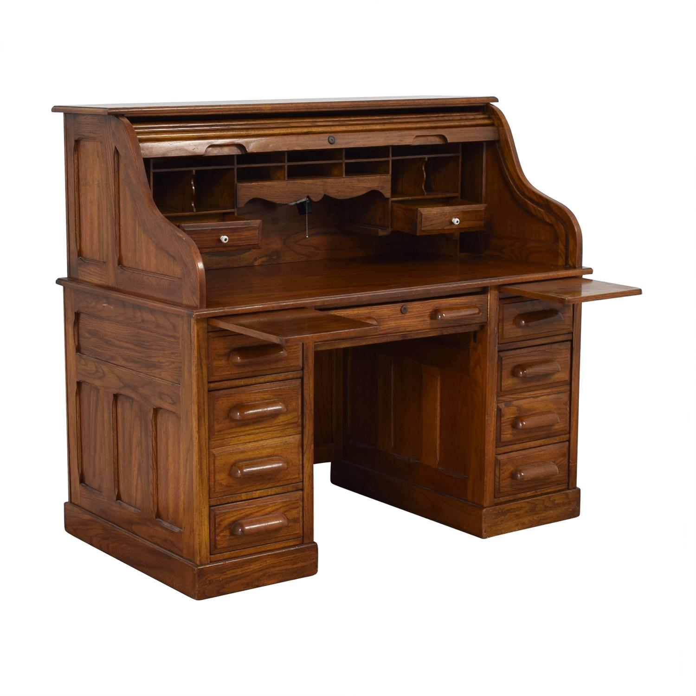 National Mt Airy Vintage Oak Wood Roll Top Desk Used
