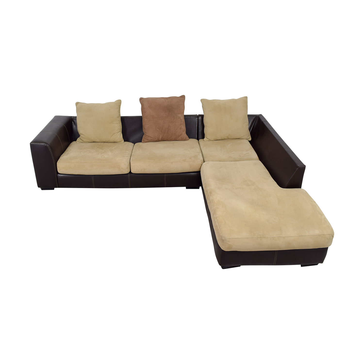 74% OFF - L-Shaped Brown Leather and Tan Fabric Sectional / Sofas