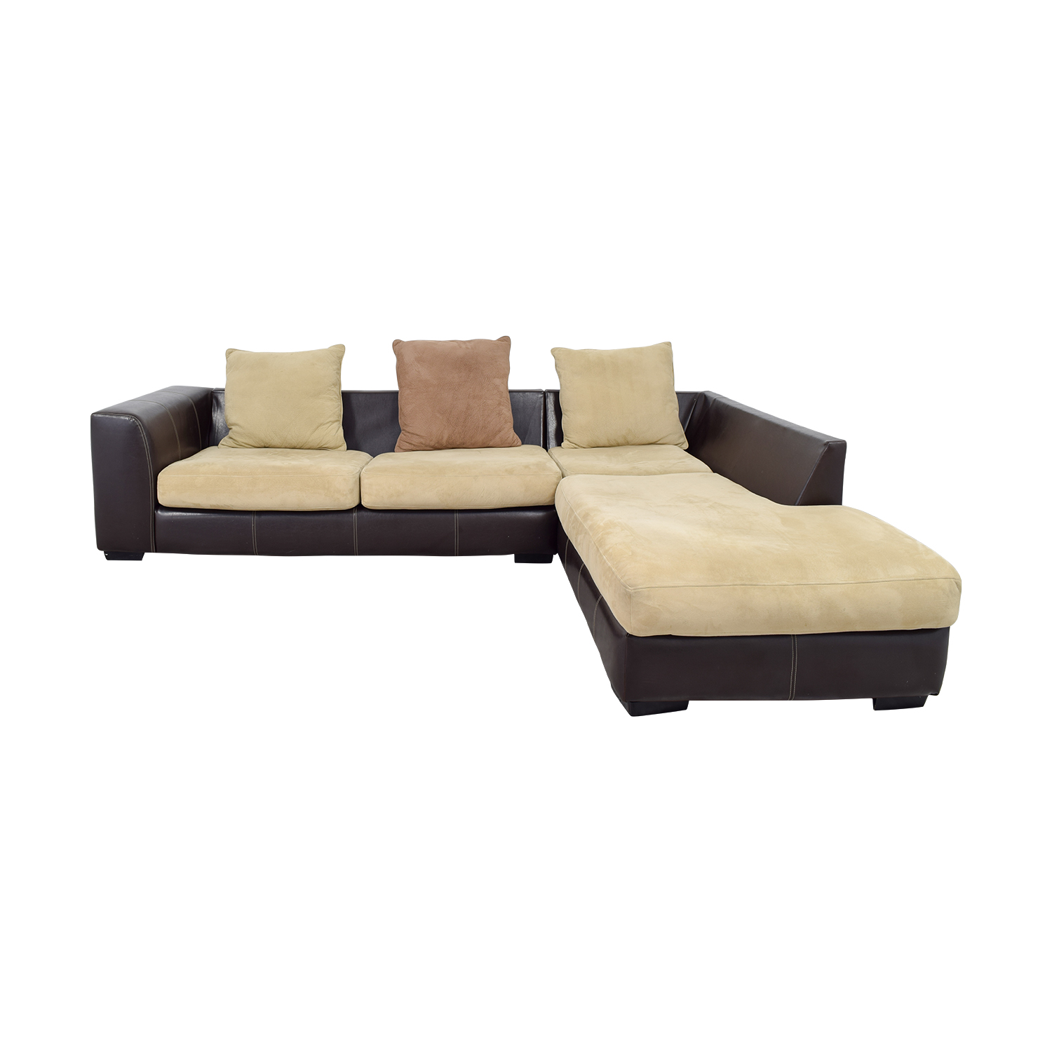 L -Shaped Brown Leather and Tan Fabric Sectional discount