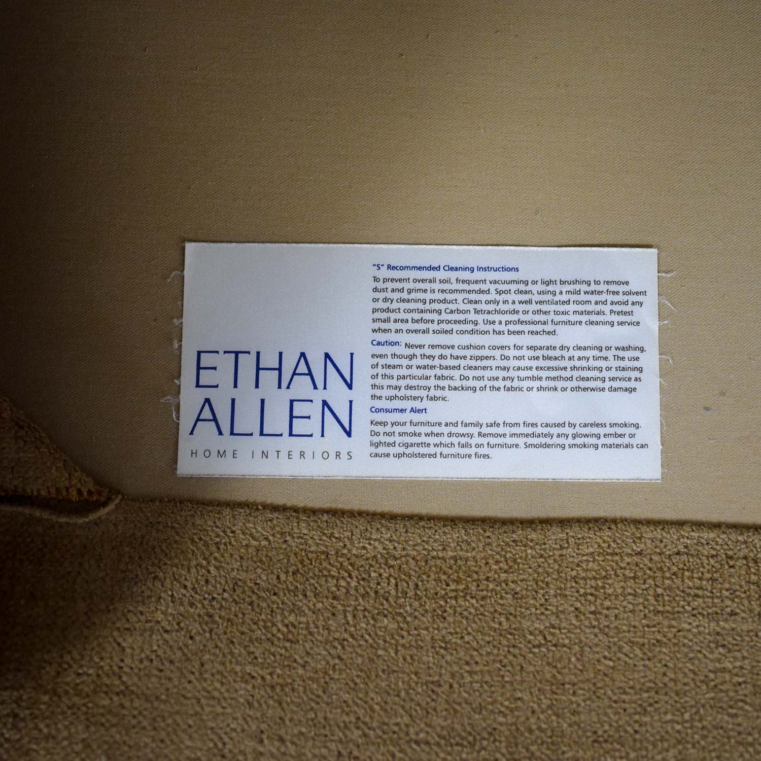 Ethan Allen Taupe L-Shaped Sectional Ethan Allen